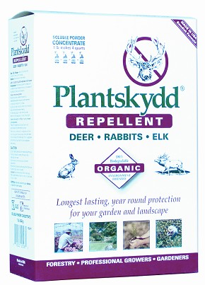 1 lb - Plantskydd Soluble Powder Concentrate Protects approx. 200-300 plants/seedlings when sprayed with solution and approx. 300-400 plants/seedlings when plant dipped in solution. Package makes 4 quarts of liquid.
